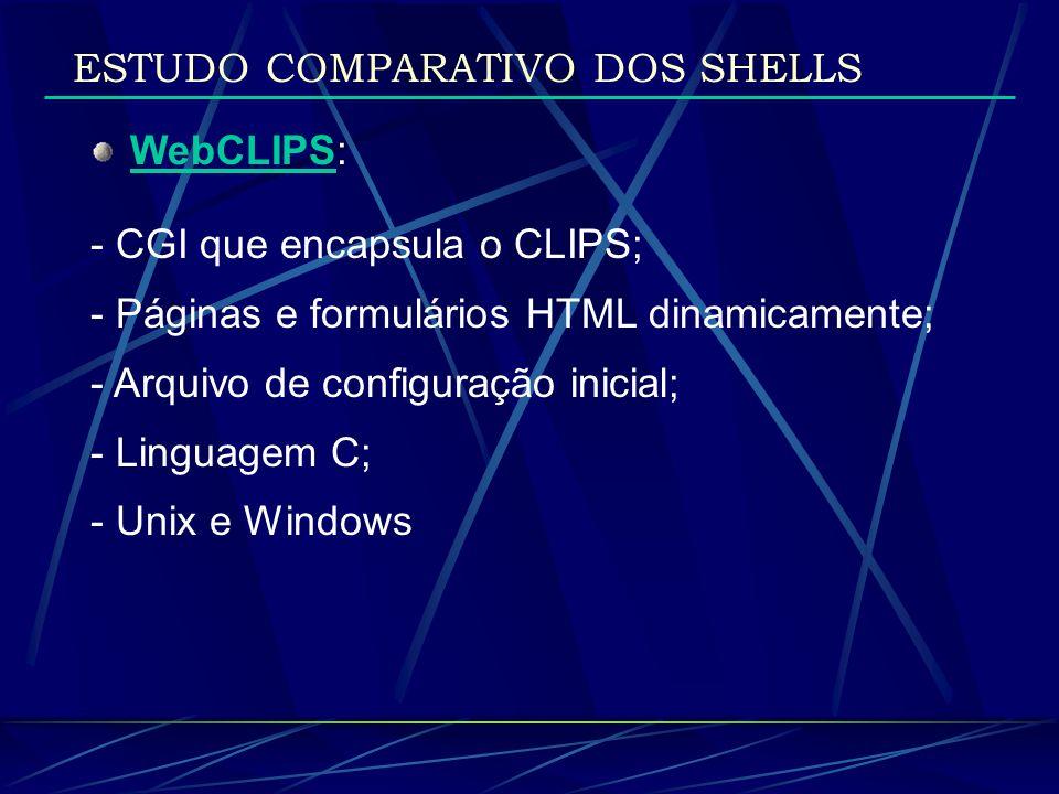 WebCLIPS: - CGI que encapsula o CLIPS; - Páginas e formulários HTML dinamicamente; - Arquivo de configuração inicial; - Linguagem C; - Unix e Windows