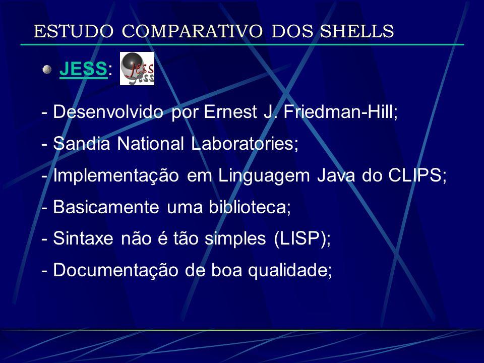 JESS: - Desenvolvido por Ernest J. Friedman-Hill; - Sandia National Laboratories; - Implementação em Linguagem Java do CLIPS; - Basicamente uma biblio