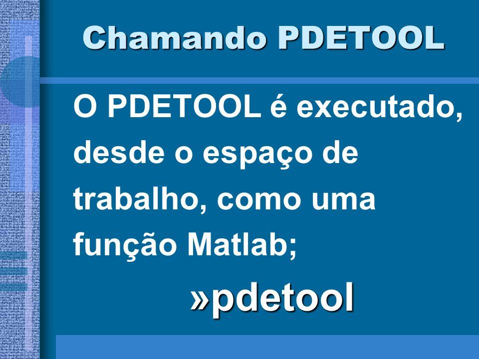 Chamando PDETOOL O PDETOOL é executado, desde o espaço de trabalho, como uma função Matlab;»pdetool