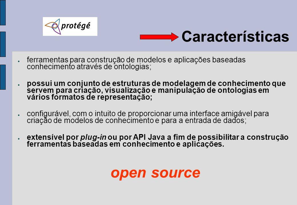 Características ferramentas para construção de modelos e aplicações baseadas conhecimento através de ontologias; possui um conjunto de estruturas de m