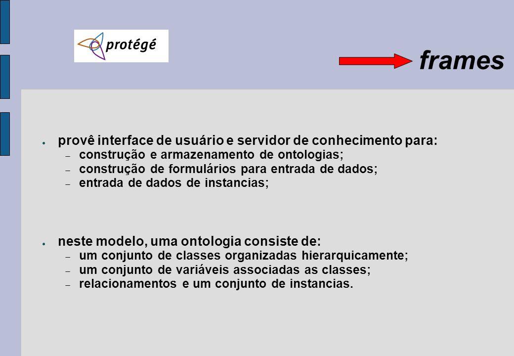 frames provê interface de usuário e servidor de conhecimento para: construção e armazenamento de ontologias; construção de formulários para entrada de