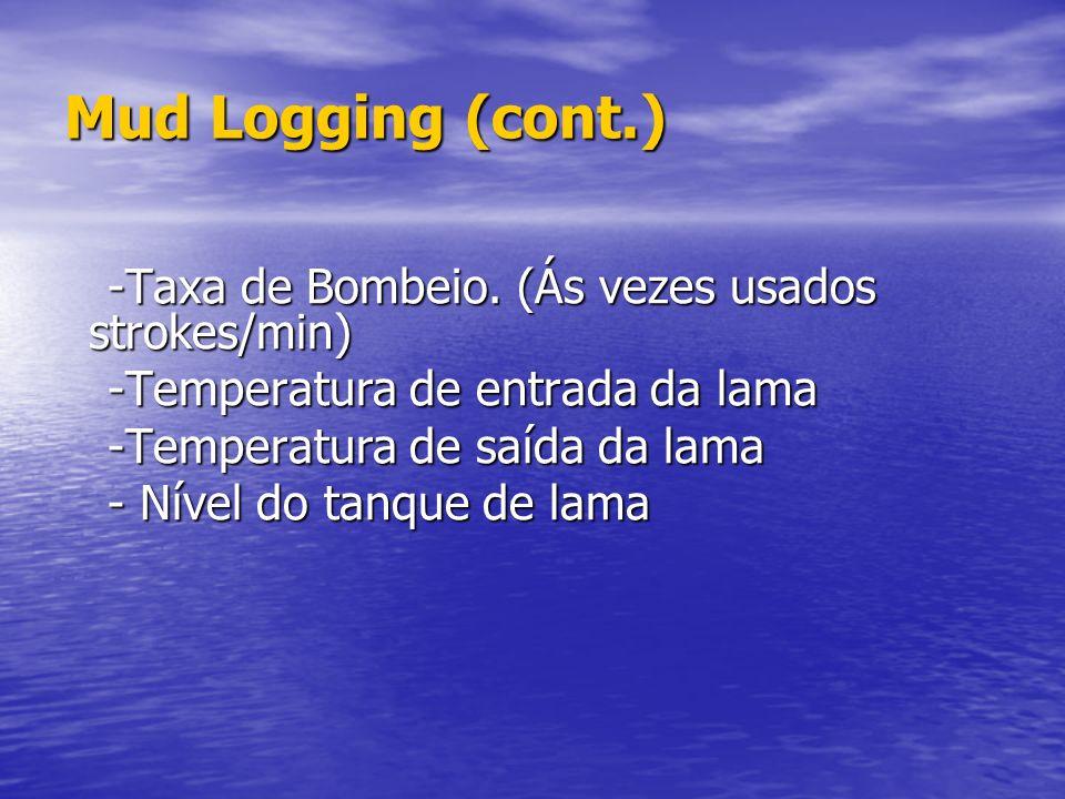 Mud Logging Mud Logging Chama-se Mud Logging o serviço que mantém o registro contínuo de: Chama-se Mud Logging o serviço que mantém o registro contínu