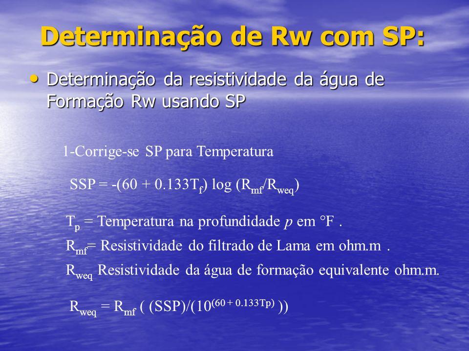 Utilização do perfil de SP: Utilização do perfil de SP: Uma vez definidas as linhas base para o folhelho e para a matriz, O perfil de SP pode indicar