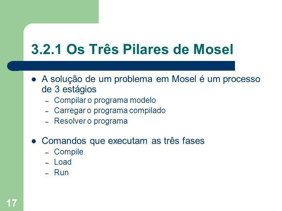 17 3.2.1 Os Três Pilares de Mosel A solução de um problema em Mosel é um processo de 3 estágios – Compilar o programa modelo – Carregar o programa compilado – Resolver o programa Comandos que executam as três fases – Compile – Load – Run