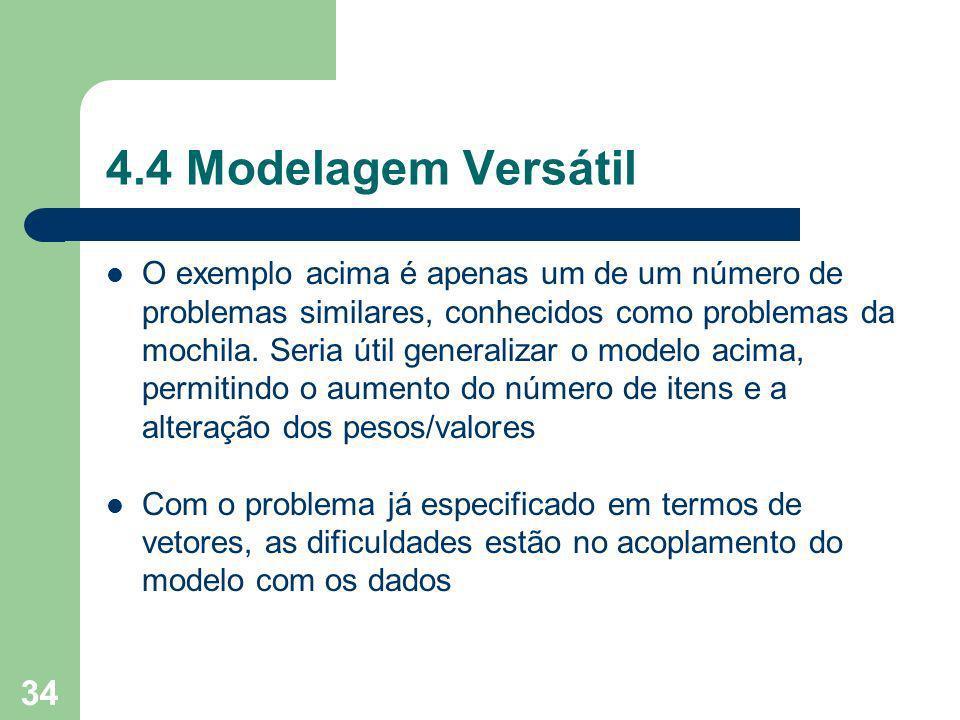 34 4.4 Modelagem Versátil O exemplo acima é apenas um de um número de problemas similares, conhecidos como problemas da mochila.