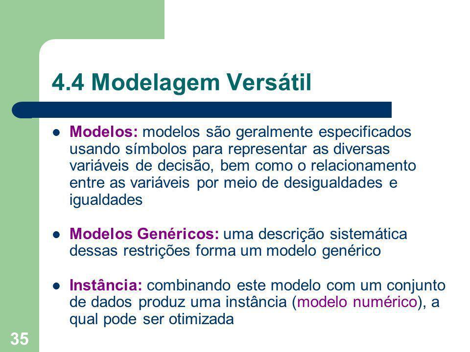 35 4.4 Modelagem Versátil Modelos: modelos são geralmente especificados usando símbolos para representar as diversas variáveis de decisão, bem como o relacionamento entre as variáveis por meio de desigualdades e igualdades Modelos Genéricos: uma descrição sistemática dessas restrições forma um modelo genérico Instância: combinando este modelo com um conjunto de dados produz uma instância (modelo numérico), a qual pode ser otimizada