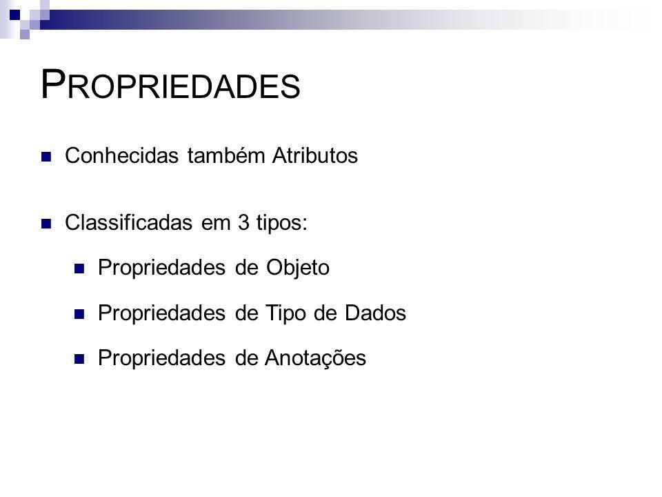 P ROPRIEDADES Conhecidas também Atributos Classificadas em 3 tipos: Propriedades de Objeto Propriedades de Tipo de Dados Propriedades de Anotações