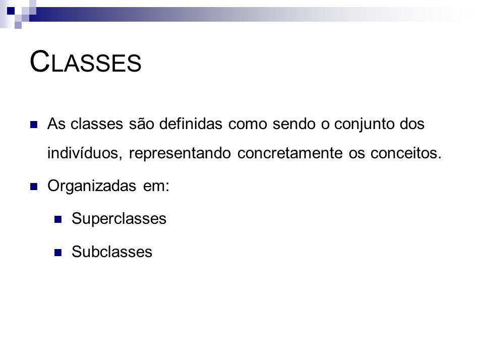 C LASSES As classes são definidas como sendo o conjunto dos indivíduos, representando concretamente os conceitos. Organizadas em: Superclasses Subclas