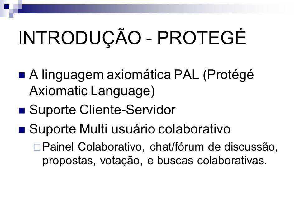 INTRODUÇÃO - PROTEGÉ A linguagem axiomática PAL (Protégé Axiomatic Language) Suporte Cliente-Servidor Suporte Multi usuário colaborativo Painel Colabo