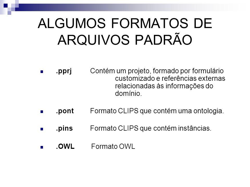 ALGUMOS FORMATOS DE ARQUIVOS PADRÃO.pprj Contém um projeto, formado por formulário customizado e referências externas relacionadas às informações do d
