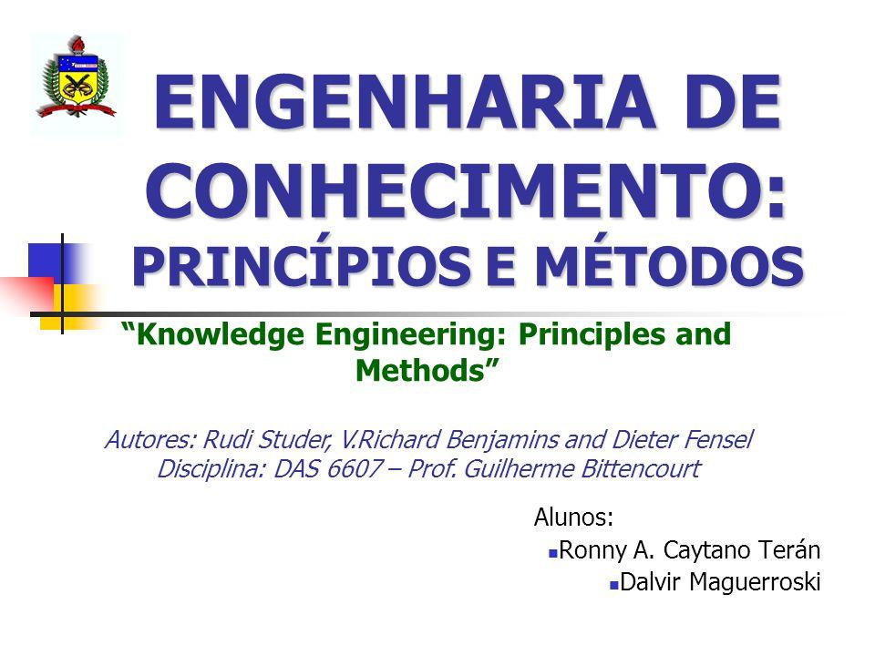 ENGENHARIA DE CONHECIMENTO: PRINCÍPIOS E MÉTODOS Alunos: Ronny A. Caytano Terán Dalvir Maguerroski Knowledge Engineering: Principles and Methods Autor