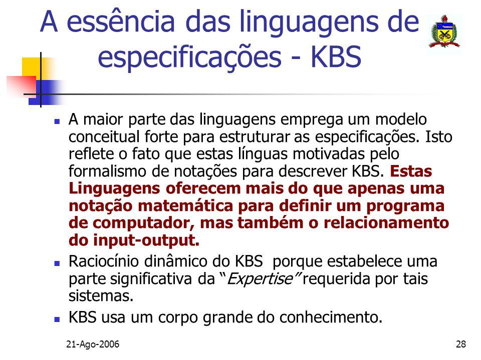 21-Ago-200628 A essência das linguagens de especificações - KBS A maior parte das linguagens emprega um modelo conceitual forte para estruturar as esp