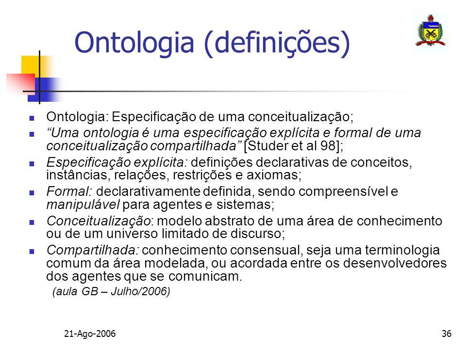 21-Ago-200636 Ontologia (definições) Ontologia: Especificação de uma conceitualização; Uma ontologia é uma especificação explícita e formal de uma con