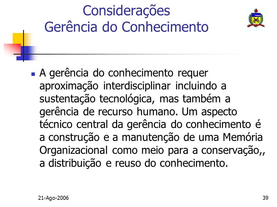 21-Ago-200639 Considerações Gerência do Conhecimento A gerência do conhecimento requer aproximação interdisciplinar incluindo a sustentação tecnológic