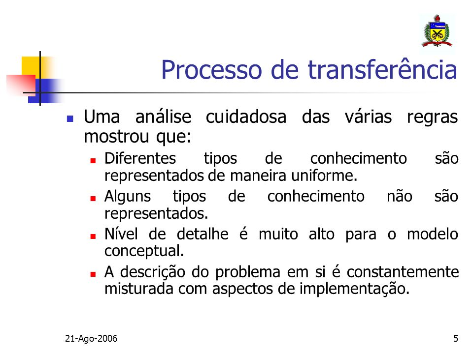 21-Ago-20065 Uma análise cuidadosa das várias regras mostrou que: Diferentes tipos de conhecimento são representados de maneira uniforme. Alguns tipos