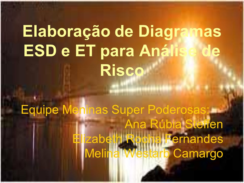 Elaboração de Diagramas ESD e ET para Análise de Risco Equipe Meninas Super Poderosas: Ana Rúbia Steffen Elizabeth Rocha Fernandes Melina Westarb Cama