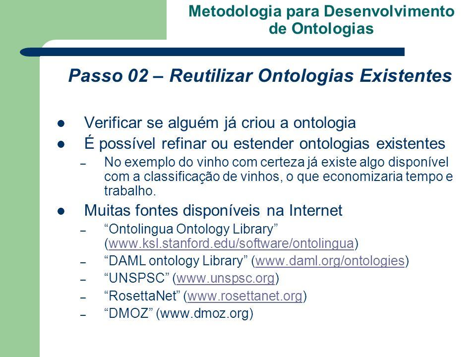 Metodologia para Desenvolvimento de Ontologias Passo 02 – Reutilizar Ontologias Existentes Verificar se alguém já criou a ontologia É possível refinar