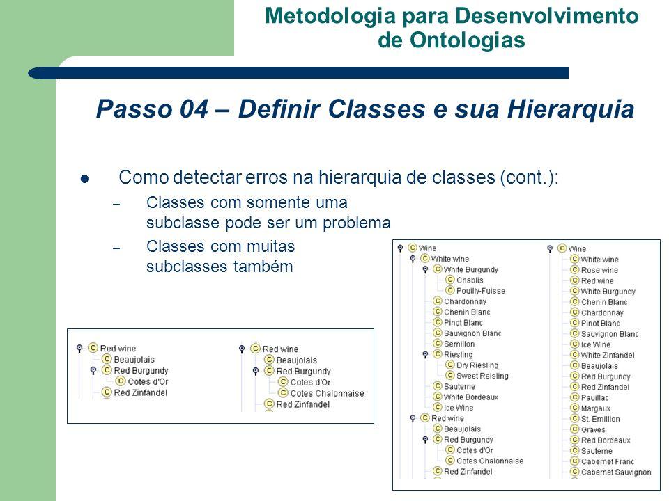 Metodologia para Desenvolvimento de Ontologias Passo 04 – Definir Classes e sua Hierarquia Como detectar erros na hierarquia de classes (cont.): – Cla