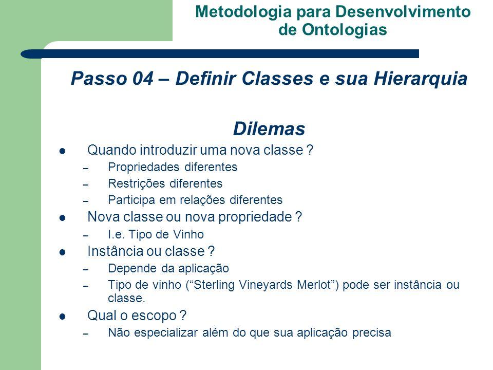 Metodologia para Desenvolvimento de Ontologias Passo 04 – Definir Classes e sua Hierarquia Dilemas Quando introduzir uma nova classe ? – Propriedades