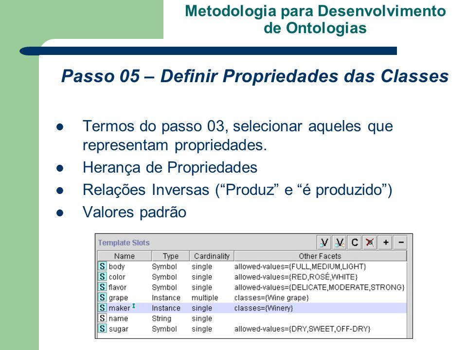 Metodologia para Desenvolvimento de Ontologias Passo 05 – Definir Propriedades das Classes Termos do passo 03, selecionar aqueles que representam prop