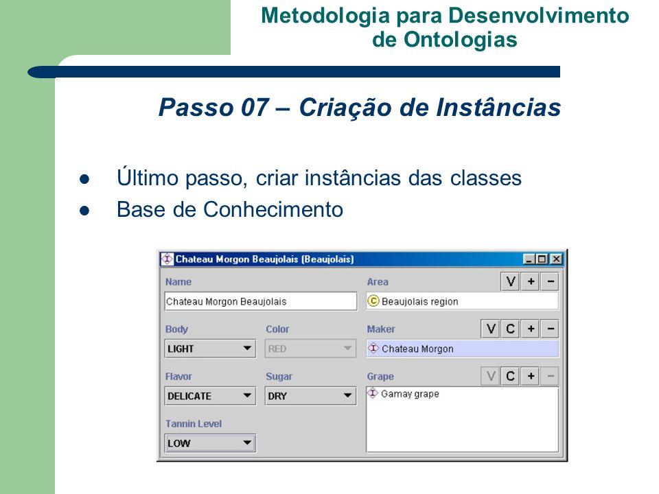 Metodologia para Desenvolvimento de Ontologias Passo 07 – Criação de Instâncias Último passo, criar instâncias das classes Base de Conhecimento