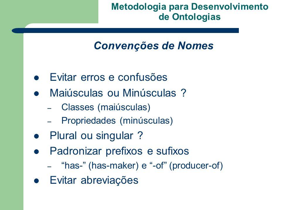 Metodologia para Desenvolvimento de Ontologias Convenções de Nomes Evitar erros e confusões Maiúsculas ou Minúsculas ? – Classes (maiúsculas) – Propri