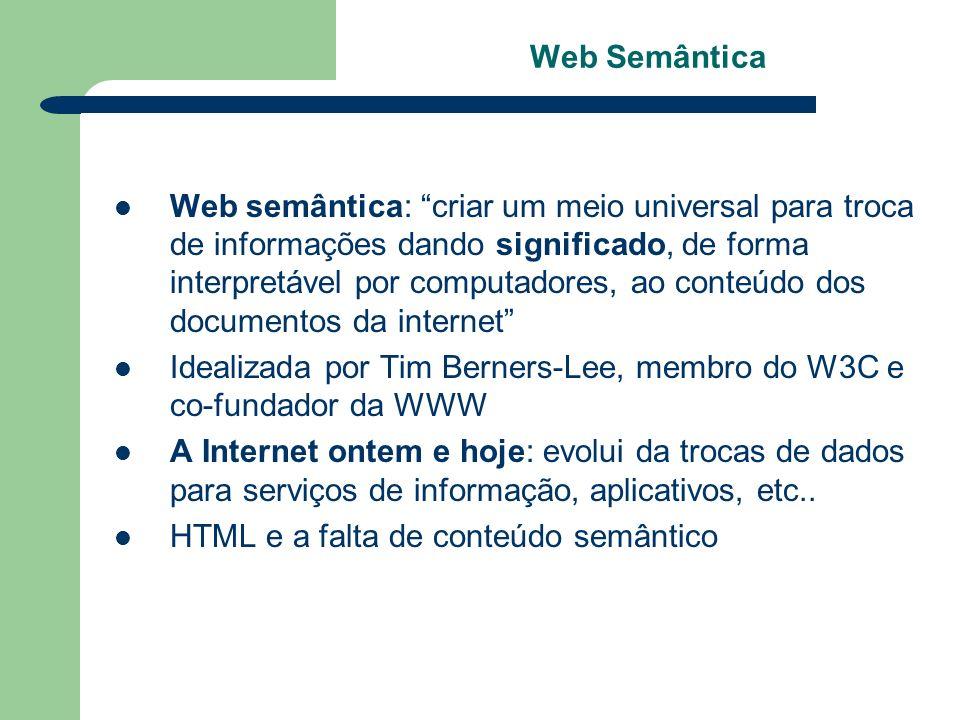 Web semântica: criar um meio universal para troca de informações dando significado, de forma interpretável por computadores, ao conteúdo dos documento