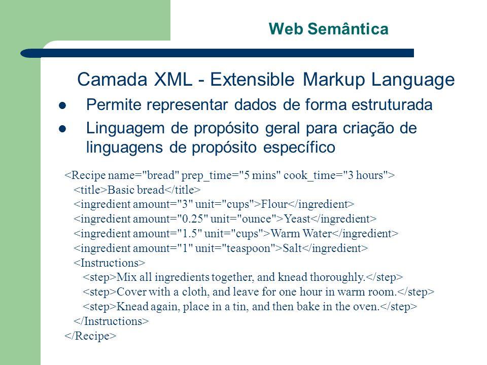 Web Semântica Camada XML - Extensible Markup Language Permite representar dados de forma estruturada Linguagem de propósito geral para criação de ling