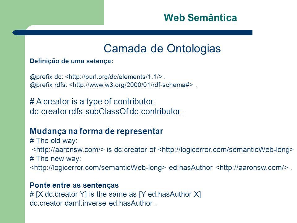 Web Semântica Camada de Ontologias Definição de uma setença: @prefix dc:. @prefix rdfs:. # A creator is a type of contributor: dc:creator rdfs:subClas