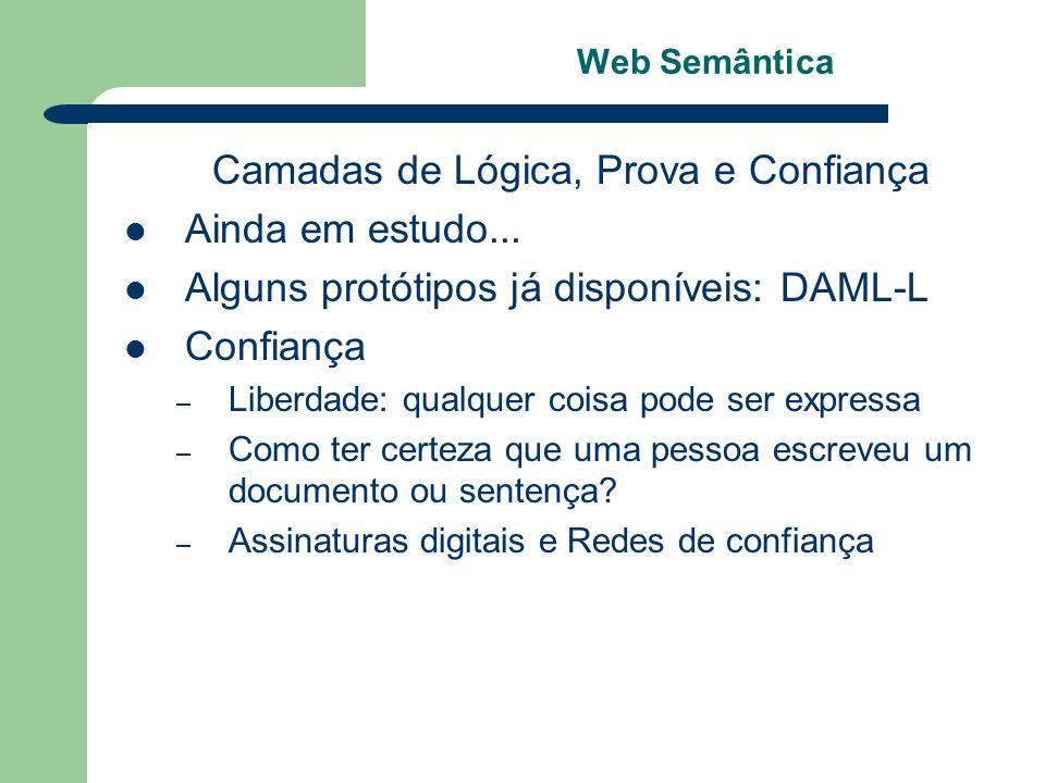 Web Semântica Camadas de Lógica, Prova e Confiança Ainda em estudo... Alguns protótipos já disponíveis: DAML-L Confiança – Liberdade: qualquer coisa p