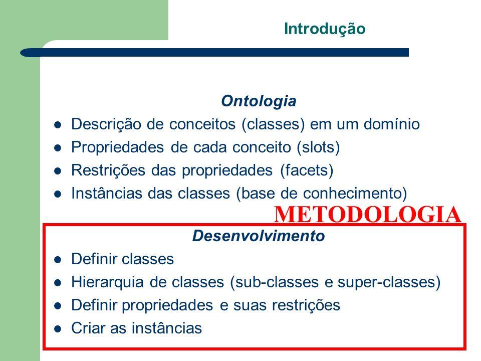 Introdução Ontologia Descrição de conceitos (classes) em um domínio Propriedades de cada conceito (slots) Restrições das propriedades (facets) Instânc