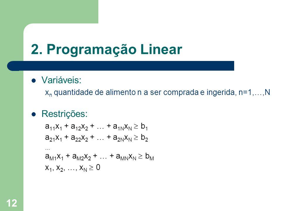 12 2. Programação Linear Variáveis: x n quantidade de alimento n a ser comprada e ingerida, n=1,…,N Restrições: a 11 x 1 + a 12 x 2 + … + a 1N x N b 1
