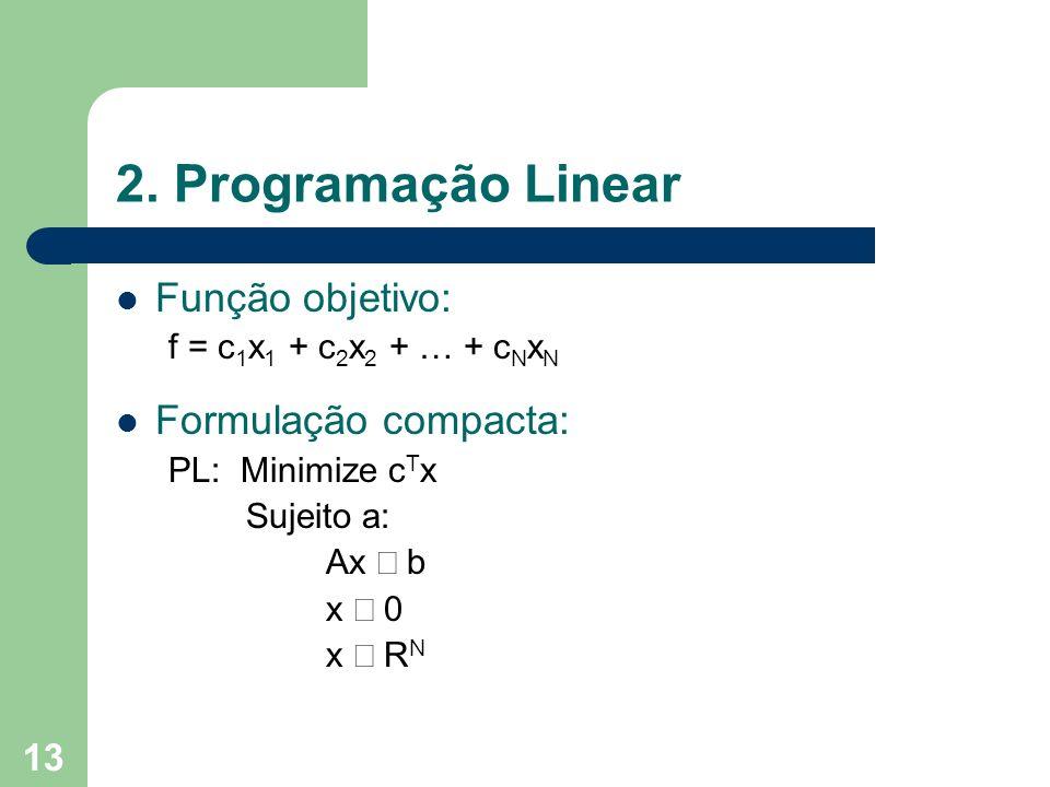 13 2. Programação Linear Função objetivo: f = c 1 x 1 + c 2 x 2 + … + c N x N Formulação compacta: PL: Minimize c T x Sujeito a: Ax b x 0 x R N