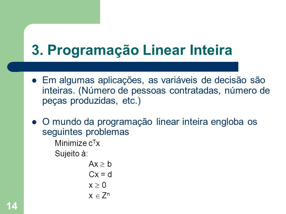 14 3. Programação Linear Inteira Em algumas aplicações, as variáveis de decisão são inteiras. (Número de pessoas contratadas, número de peças produzid