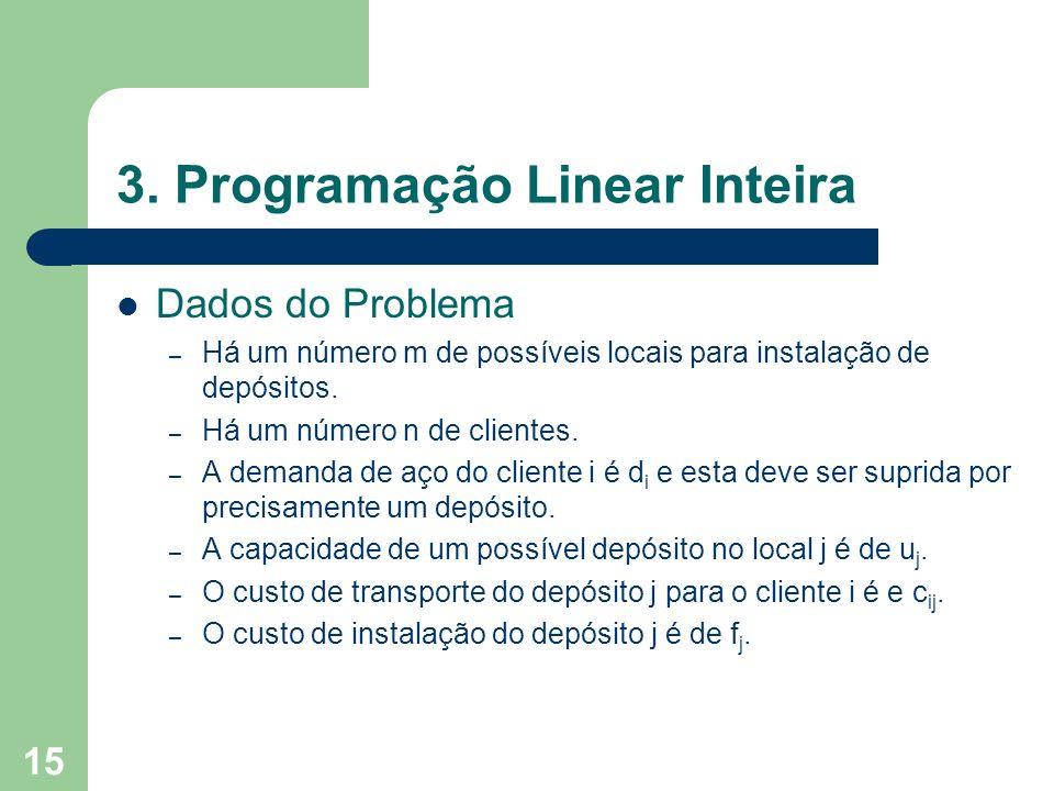 15 3. Programação Linear Inteira Dados do Problema – Há um número m de possíveis locais para instalação de depósitos. – Há um número n de clientes. –