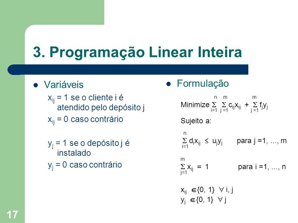 17 3. Programação Linear Inteira Variáveis x ij = 1 se o cliente i é atendido pelo depósito j x ij = 0 caso contrário y j = 1 se o depósito j é instal