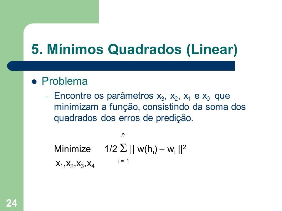 24 5. Mínimos Quadrados (Linear) Problema – Encontre os parâmetros x 3, x 2, x 1 e x 0 que minimizam a função, consistindo da soma dos quadrados dos e