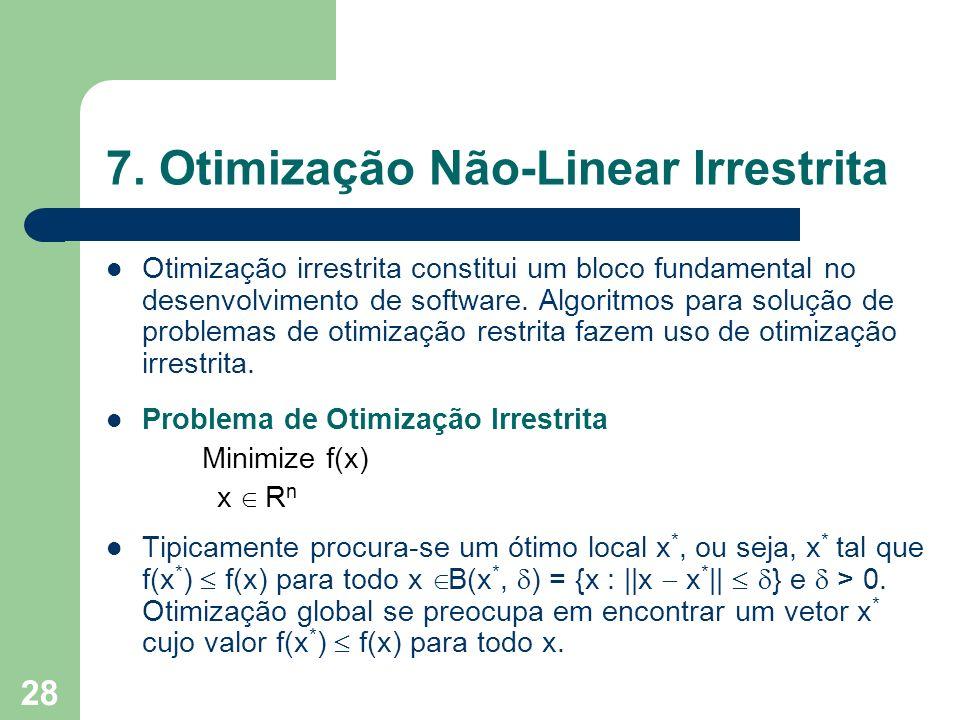 28 7. Otimização Não-Linear Irrestrita Otimização irrestrita constitui um bloco fundamental no desenvolvimento de software. Algoritmos para solução de