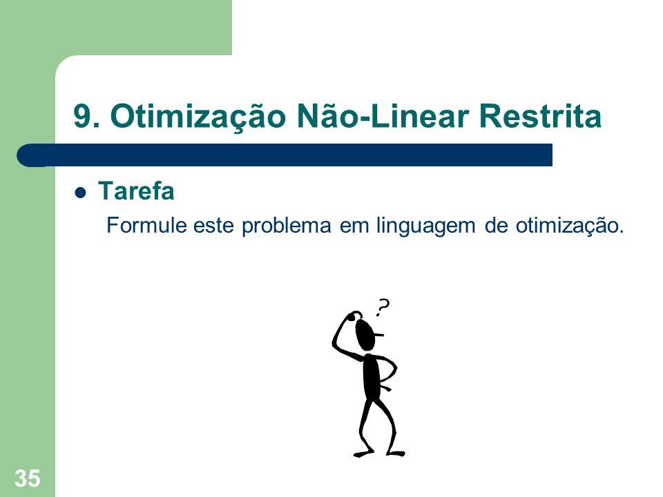 35 9. Otimização Não-Linear Restrita Tarefa Formule este problema em linguagem de otimização.