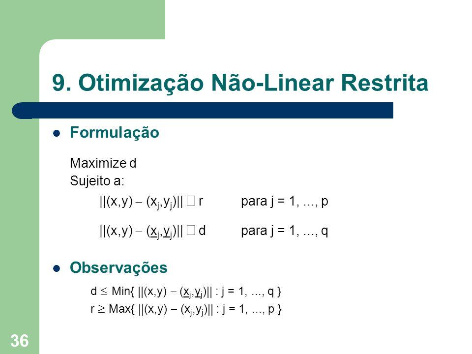 36 9. Otimização Não-Linear Restrita Formulação Maximize d Sujeito a: ||(x,y) (x j,y j )|| rpara j = 1,..., p ||(x,y) (x j,y j )|| dpara j = 1,..., q