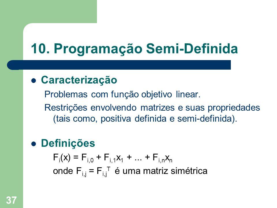 37 10. Programação Semi-Definida Caracterização Problemas com função objetivo linear. Restrições envolvendo matrizes e suas propriedades (tais como, p