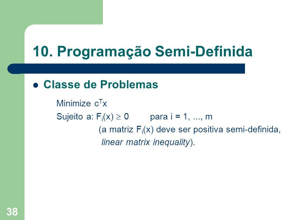 38 10. Programação Semi-Definida Classe de Problemas Minimize c T x Sujeito a: F i (x) 0para i = 1,..., m (a matriz F i (x) deve ser positiva semi-def