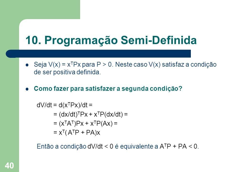 40 10. Programação Semi-Definida Seja V(x) = x T Px para P > 0. Neste caso V(x) satisfaz a condição de ser positiva definida. Como fazer para satisfaz