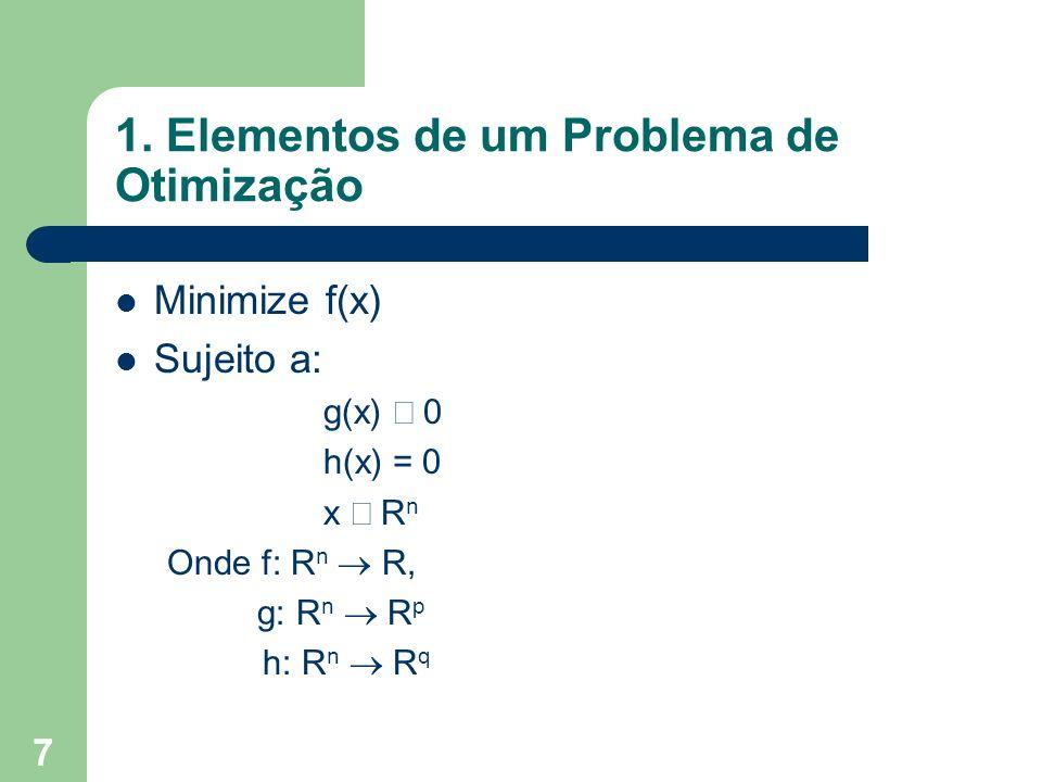7 1. Elementos de um Problema de Otimização Minimize f(x) Sujeito a: g(x) 0 h(x) = 0 x R n Onde f: R n R, g: R n R p h: R n R q