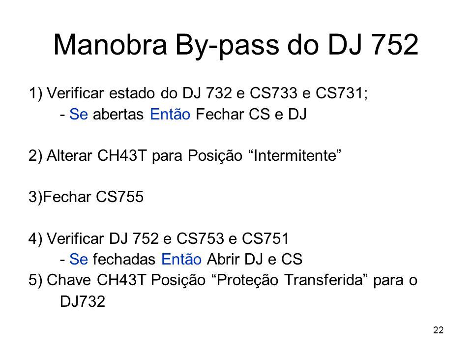 22 Manobra By-pass do DJ 752 1) Verificar estado do DJ 732 e CS733 e CS731; - Se abertas Então Fechar CS e DJ 2) Alterar CH43T para Posição Intermitente 3)Fechar CS755 4) Verificar DJ 752 e CS753 e CS751 - Se fechadas Então Abrir DJ e CS 5) Chave CH43T Posição Proteção Transferida para o DJ732