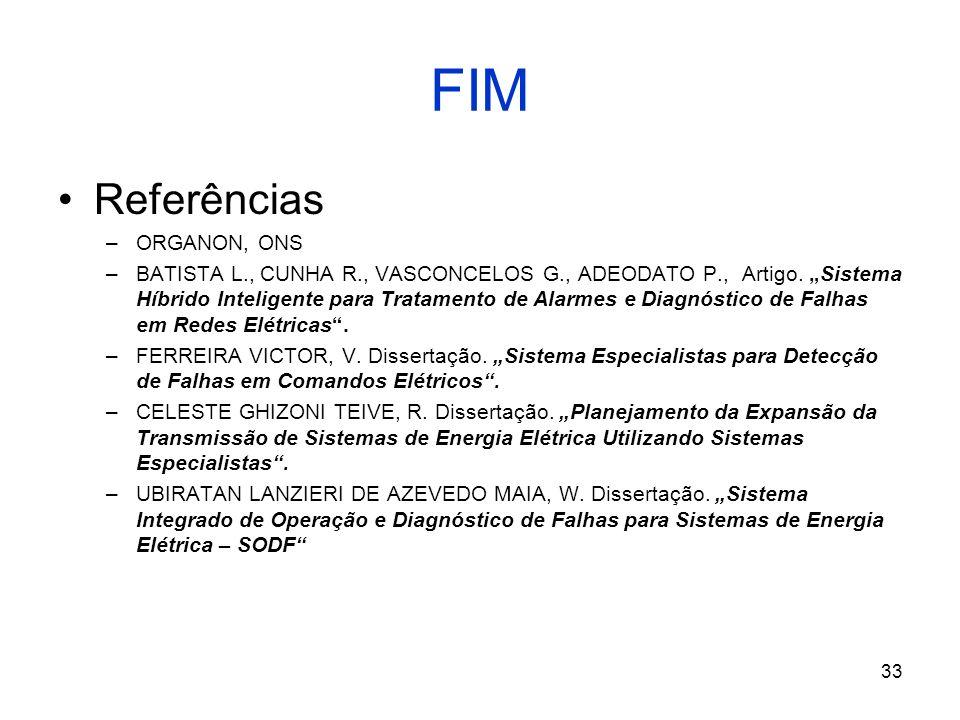 33 FIM Referências –ORGANON, ONS –BATISTA L., CUNHA R., VASCONCELOS G., ADEODATO P., Artigo.