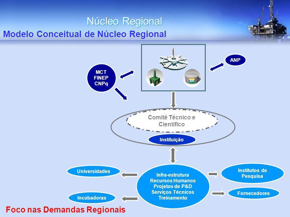Núcleo Regional Modelo Conceitual de Núcleo Regional ANP MCT FINEP CNPq Comitê Técnico e Cientifico Instituição Fornecedores Universidades Institutos