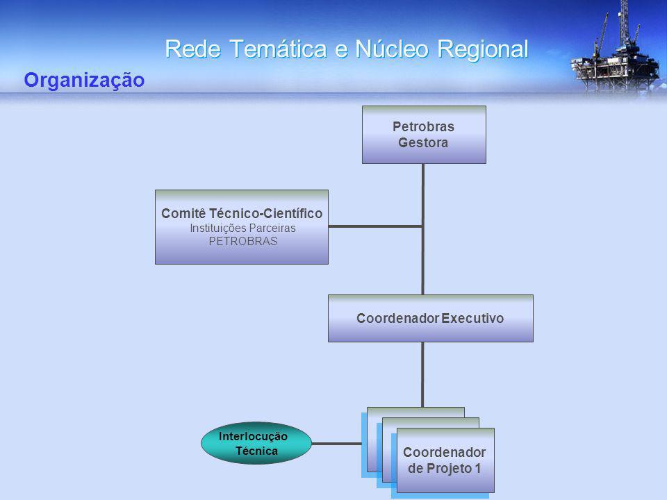Rede Temática e Núcleo Regional Organização Comitê Técnico-Científico Instituições Parceiras PETROBRAS Petrobras Gestora Coordenador Executivo Coorden