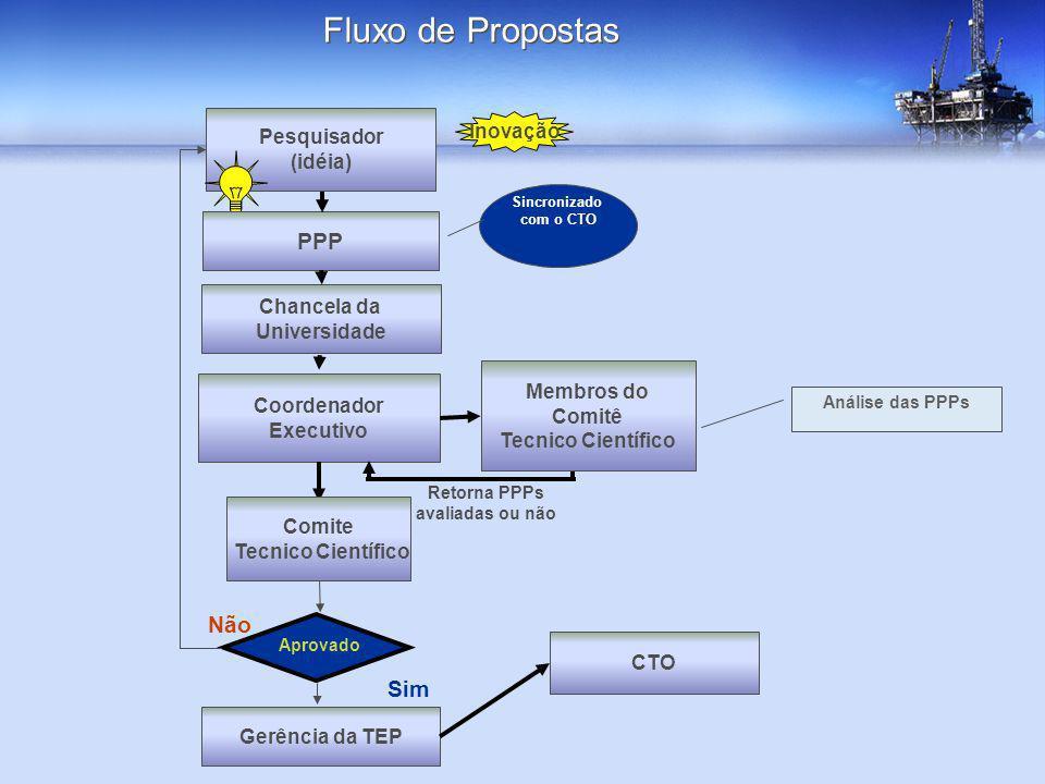 Pesquisador (idéia) PPP Inovação Coordenador Executivo Retorna PPPs avaliadas ou não Membros do Comitê Tecnico Científico Gerência da TEP Análise das