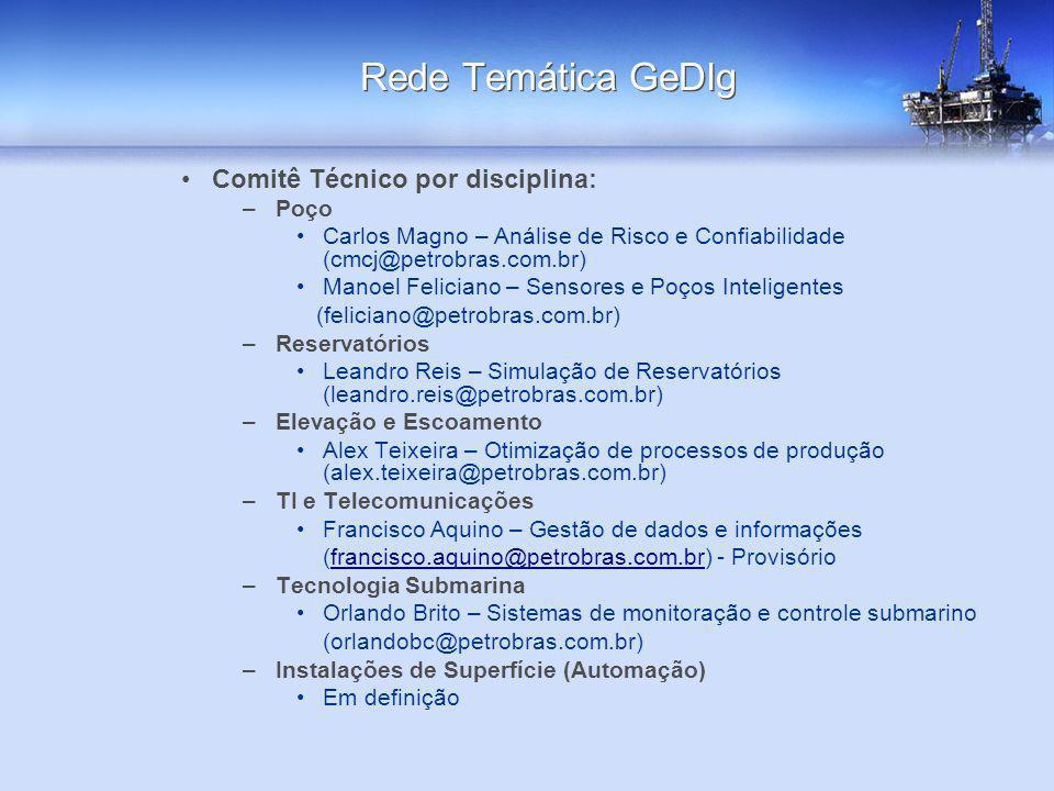 Comitê Técnico por disciplina: –Poço Carlos Magno – Análise de Risco e Confiabilidade (cmcj@petrobras.com.br) Manoel Feliciano – Sensores e Poços Inte